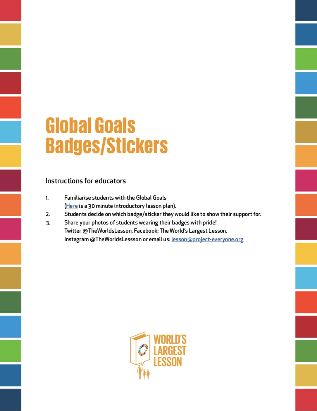 Global Goals Classroom Decorations | The Worlds Largest Lesson